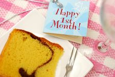 Free Slice Of Butter Cake And Card Stock Images - 14497804