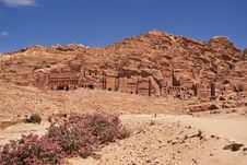 Wide View Of Large Cliff Side Tomb. Royalty Free Stock Photo