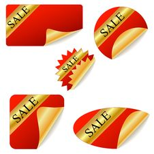 Sale Red Stickers Royalty Free Stock Images