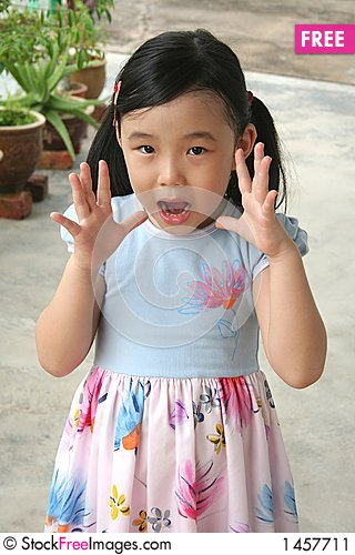 Girl surprised & shocked Stock Photo