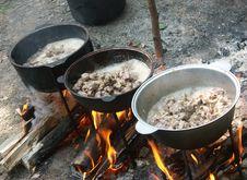 Big Camp Bonfire Stock Photo