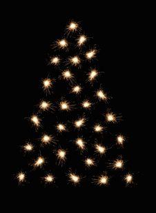 Sparkler Christmas Tree 2 Stock Photo