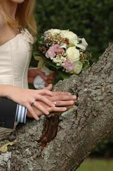 Free Hands, Rings And Bouquet Stock Photography - 1453682