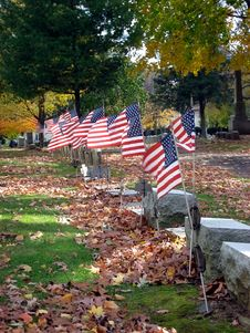 Flags And Headstones Stock Photography