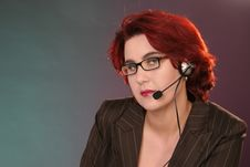 Free Girl With Headset At Work Stock Photos - 1454573
