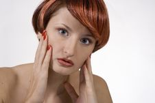 Free Red Woman With Studio Stock Photo - 1454750