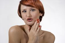 Free Red Woman With Studio Royalty Free Stock Images - 1454789