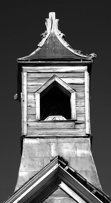 Old Wooden Church Steeple In Black And White Stock Photography