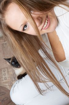 Free Young Happy Girl In White With Cat Stock Photos - 1455023