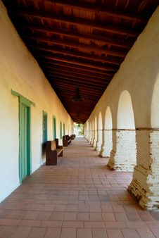 Free Main Walkway Of The San Juan Bautista Mission Royalty Free Stock Image - 1455036