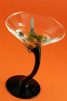 Free Martini With Car Keys Inside Royalty Free Stock Photos - 1458708