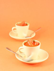 Carrots And Juice In A Esspresso Cup Stock Image