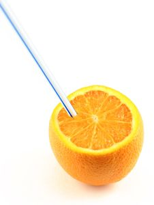 Free Orange Juice Drunk Directly From The Fruit Royalty Free Stock Photography - 1458817