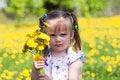 Free Little Girl On Dandelion Field Royalty Free Stock Image - 14507196