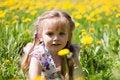 Free Little Girl On Dandelion Field Stock Photos - 14507253