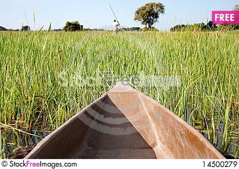 Mokoro Amongst The Reeds Stock Photo