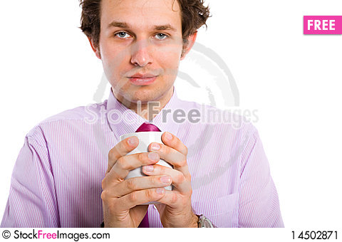 Attractive male adult hold cup, mug Stock Photo