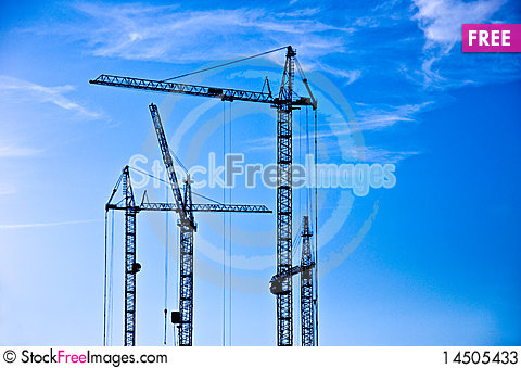 The crane elevating Stock Photo