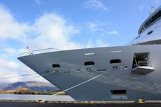 Cruise Ship Docked In Iceland Royalty Free Stock Photo