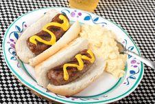Free Bratwurst On A Bun Stock Photo - 14501330