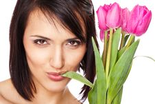 Free Woman Face Chewing Tulip Leaf Stock Images - 14501984