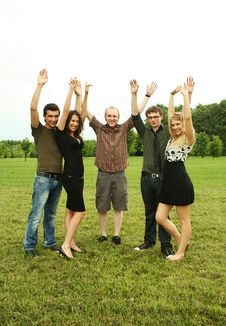 Free Friends Keep Hands Up Outdoor Royalty Free Stock Photos - 14501988
