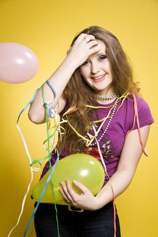 Free Girl With Balloons And Paper Streamer Stock Image - 14502061