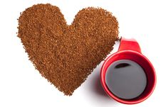 Free Heart Made Of Coffee And Red Cup Royalty Free Stock Photos - 14502428