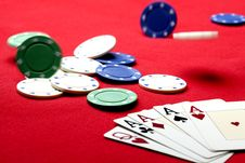 Free Gambling Chips With Playing Card Royalty Free Stock Photo - 14502795