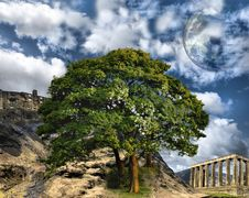 Free Mountain With Ancient Buildings Royalty Free Stock Photos - 14503578