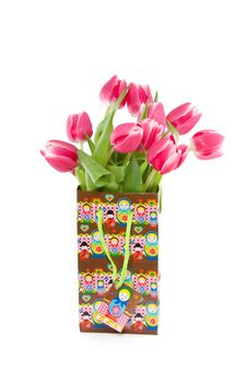 A Bouquet Of Dark Pink Tulips Stock Photography