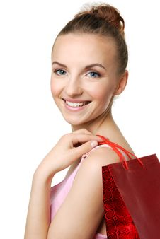 Young Woman Holding Shopping Bag Stock Images