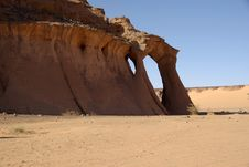 Cliff In Libyan Desert Stock Photos