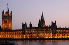 Exterior Of Illuminated Houses Of Parliament Stock Image