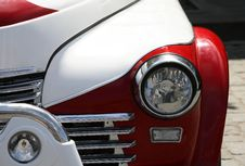 Close Up Of Retro Red Car Grill Stock Photography