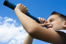 Free The Boy Looks Through A Telescope Stock Photo - 14505330