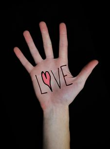 Love Written On Hand Royalty Free Stock Images