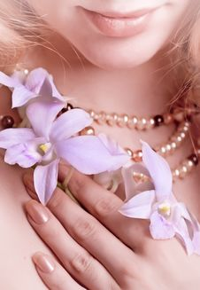 Free Girl With Orchid Royalty Free Stock Photo - 14507045
