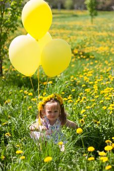 Free Little Girl On Dandelion Field Stock Image - 14507231