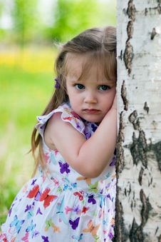 Little Girl Near Birch Stock Photos