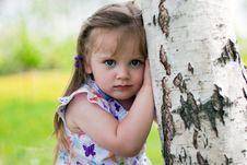 Little Girl Near Birch Stock Photography
