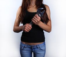 Free Girl Holding Wrench Stock Photo - 14507960
