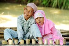 Happy Muslim Kids Outdoor Royalty Free Stock Image
