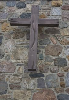 Wooden Cross On Wall Stock Photography