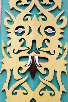Free Wall Curving With An Orang Ulu Motif Design Royalty Free Stock Photos - 14508838