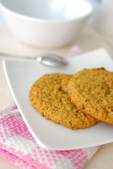 Wholemeal Cookies For Healthy Breakfast Stock Photo