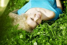 Free Beautiful Girl Lying On The Grass Stock Image - 14509451