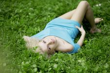 Free Beautiful Girl Lying On The Grass Stock Photography - 14509492