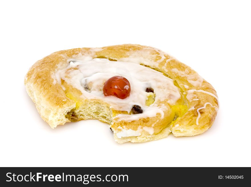 Danish pastry with a bite taken