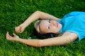 Free Girl Listening Music On Headphones Stock Image - 14514991